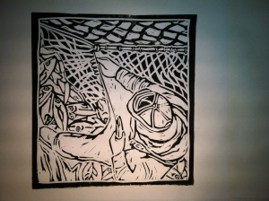 """Mending Nets"" artist proof, M. Gilbertsen, 2010 - Hand-pulled linocut"