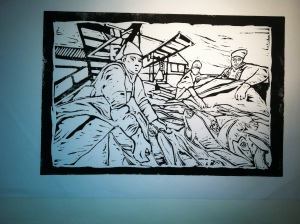 """Cannery Row"" Astoria Fish Holdings, M. Gilbertsen, Linocut 2010 Unsigned artist proof"
