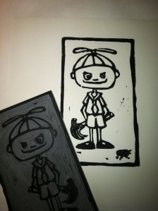 """Jack"" linocut, part of ""What Lovely Little Children"" series, Halloween 2008"