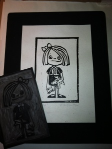 """Hanna"" M. Gilbertsen, Linocut - 2009, Part of series for Halloween show at Columbia Gallery 2009"