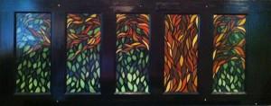 """""""Glassworks Tree"""", oil on recycled door - M. Gilbertsen, 2008"""