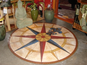 "Compass Rose, acrylic on cement for ""The Importer"" business in St. Helens, OR 2009"