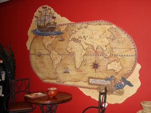 """Mural for local antiques business, The Importer"""" , acrylics - 2006 or 7"""