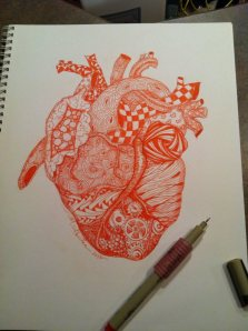 Zen Heart, zentangle, pen and ink, M. Gilbertsen, 2013