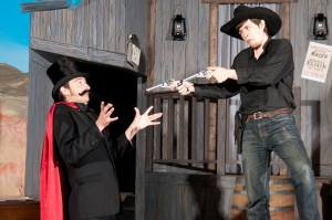 "An action scene from ""Dirty Deeds at the Depot"", melodrama performed by Stageworks Northwest Theater Co Summer 2013"