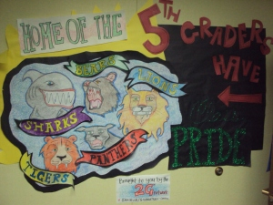 Wall outside my 5th grade classroom with group mural 2011