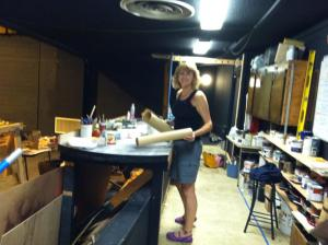 "Me, at the theater, in my makeshift ""office"" and production shop during set work on the ""Dirty Deeds at the Depot"" Melodrama production - Spring 2013"