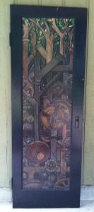 """""""Metal Trees"""" acrylic on recycled door, M. Gilbertsen 2008"""