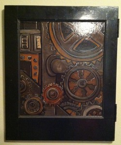 """Gears"" Panel 1 acrylic on recycled wood door, 2008 M. Gilbertsen"