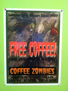 "Digital Art created from an original painting based on Coffee Zombies theme camp at Burning Man 2008 18""x24"""