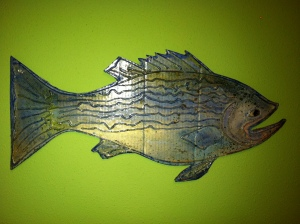 """Bass or Perch?""  mixed media on recycled cardboard, M. Gilbertsen - 2011"