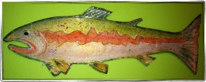 "Salmon, mixed media on cardboard, 23""x10"" M. Gilbertsen - 2011"