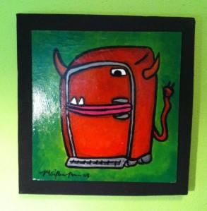 """Midnight Snack""  M. Gilbertsen 2008  Mixed media on recycled kayak box"