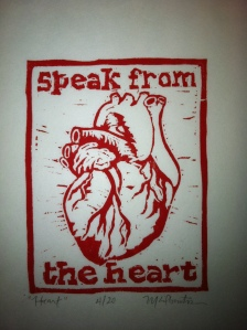"""Speak From The Heart"" linocut, M. Gilbertsen 2009"