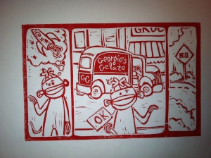 "One of my panels for ""Curious George Learns to Meditate"" blockprint 2009"