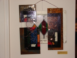 """Re-Worked Window"" M. Gilbertsen & Jeremy Furnish, Mixed Media Sculpture, Recycled Art Show, Metal and Paint, Columbia Gallery 2009"