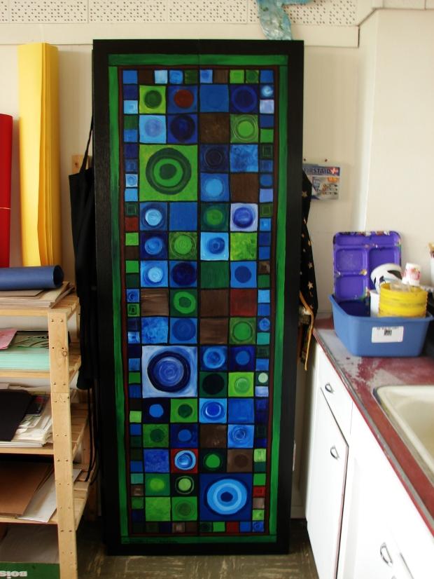 Jeanie & Christina's Door, M. Gilbertsen, abstract oil on wood bi-fold door, 2009