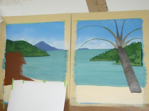 Adding the palm fronds and the trunk texture.