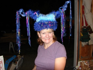My fabulous friend, Micki, modeling my mixed media creation sculptury thingy!  2008