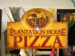 Plantation House Pizza sign, M. Gilbertsen 2006  sitting in my studio before being hung.
