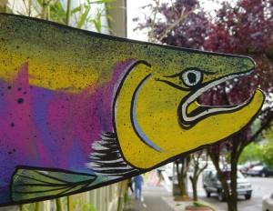 """Jamming Salmon"" acrylic on Metal, M. Gilbertsen"
