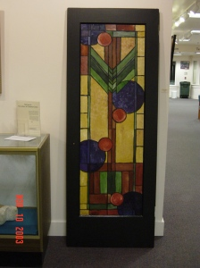 Abstract stained glass style painted recycled door - Turned into a hall tree for a client's foyer.