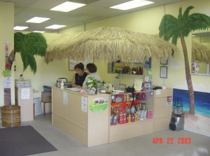 Tan & Stuff business, interior mural and front desk design, 2003 M. Gilbertsen