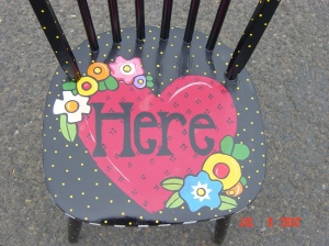 """""""Here"""", M. Gilbertsen 2003, commissioned painted chair"""